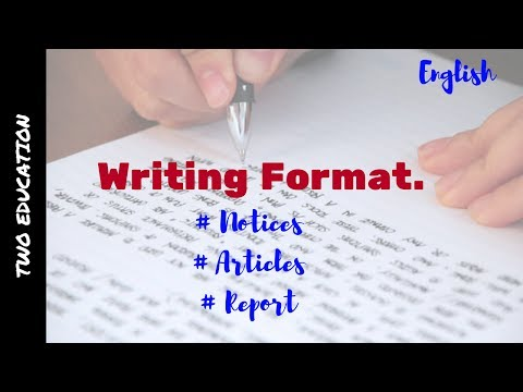 Cbse Class 12 English Core | Format of Writing Notice, Report