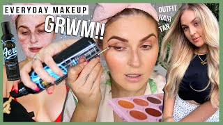 Everyday Makeup Routine GRWM Fake Tan Hair Makeup Outfit More