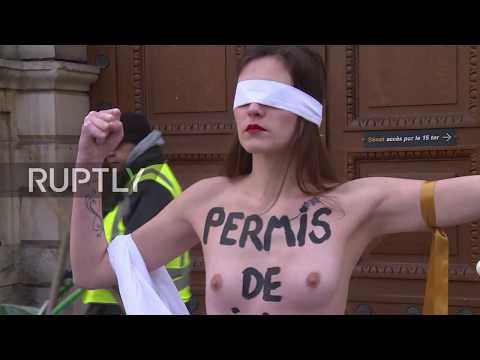 France: Topless FEMEN activists protest proposed rape law changes in Paris *EXPLICIT*