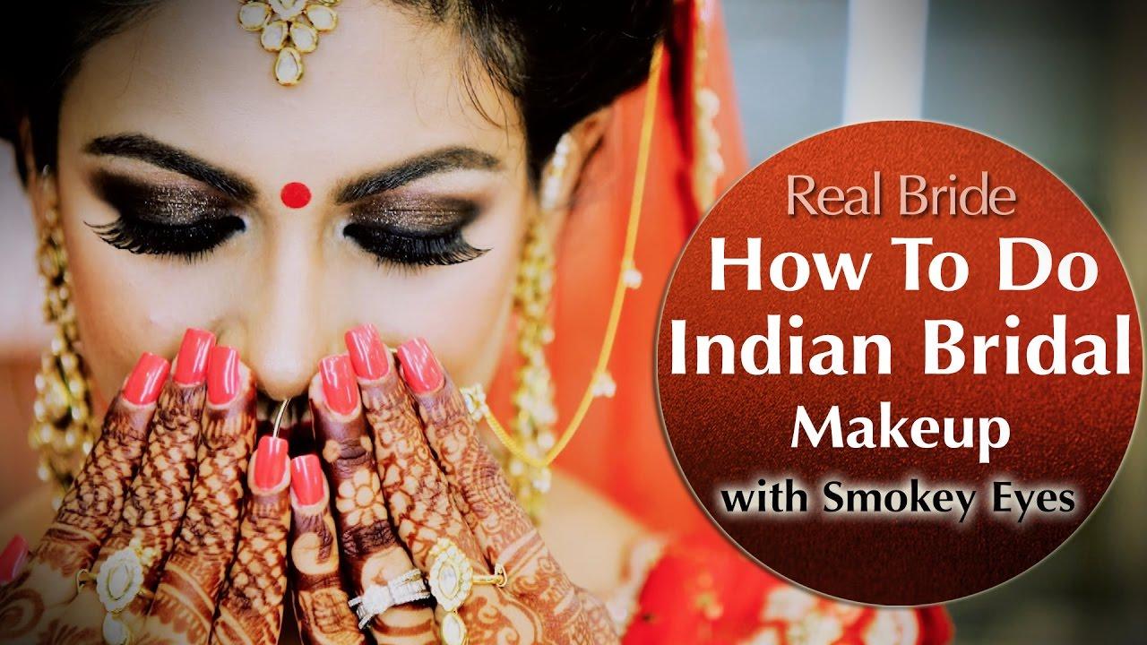 Indian Bridal Makeup With Smokey Eyes Tutorial Asian Bridal Make