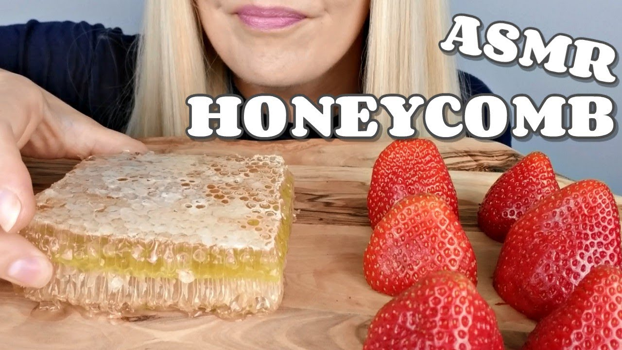 Asmr Honeycomb Strawberries Extremely Sticky Eating Sounds No Talking