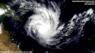 Satellite & Radar Timelapse - Tropical Cyclone Yasi (Update 3)