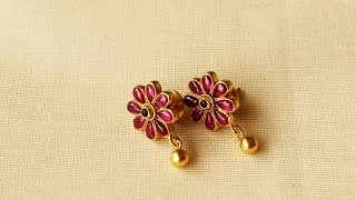 Light Weight Ruby And Gold Earrings Designs