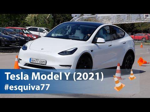Tesla Model Y - Maniobra de esquiva (Moose test) y eslalon   km77.com