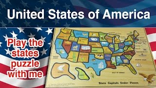 United States of America puzzle. 50 states of America. Come on kids play with me.