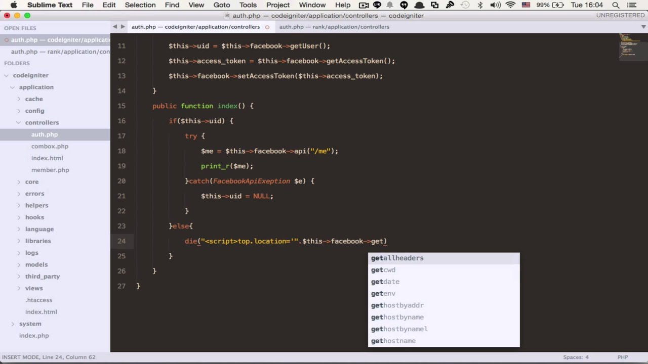 Codeigniter Framework EP 37 Facebook Login with FB api 3.2.3 - YouTube