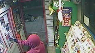 CCTV: Robbers shoot man in the eyes with pellet gun