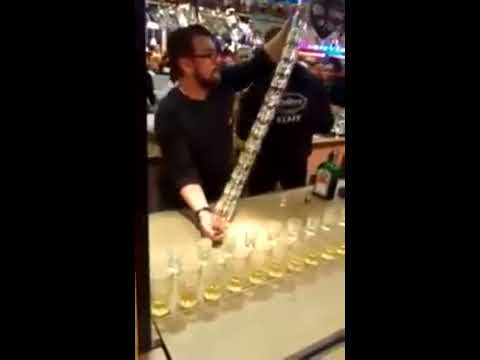 How to pour 15 jagermeister shots at once. Amazing Barman