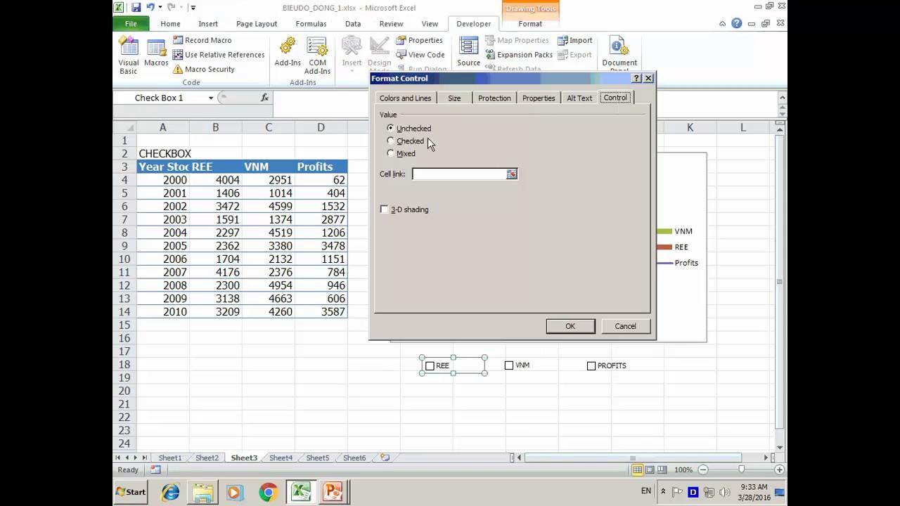 Ve bieu do trong Excel