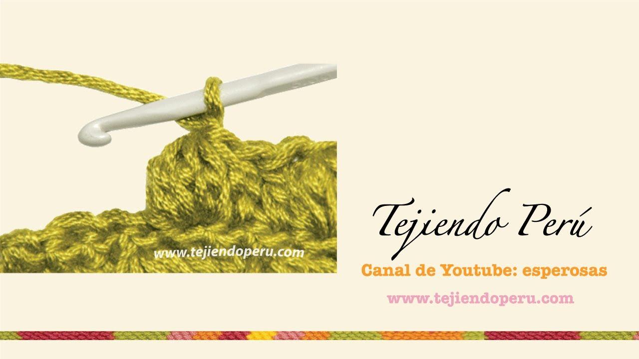 Crochet: punto piña de varetas o puntos altos - YouTube