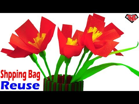 How To Make Poppy Stick Flower Using Shopping Bag    Best out of Waste Shopping Carry Bag