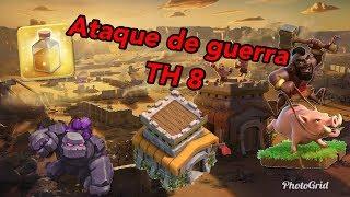 Ataque de guerra de ayuntamiento nivel 8 con montapuercos//Clash of Clans