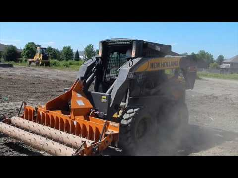 New Holland L185 Skid Steer And Woods Gill Soil Pulverizer