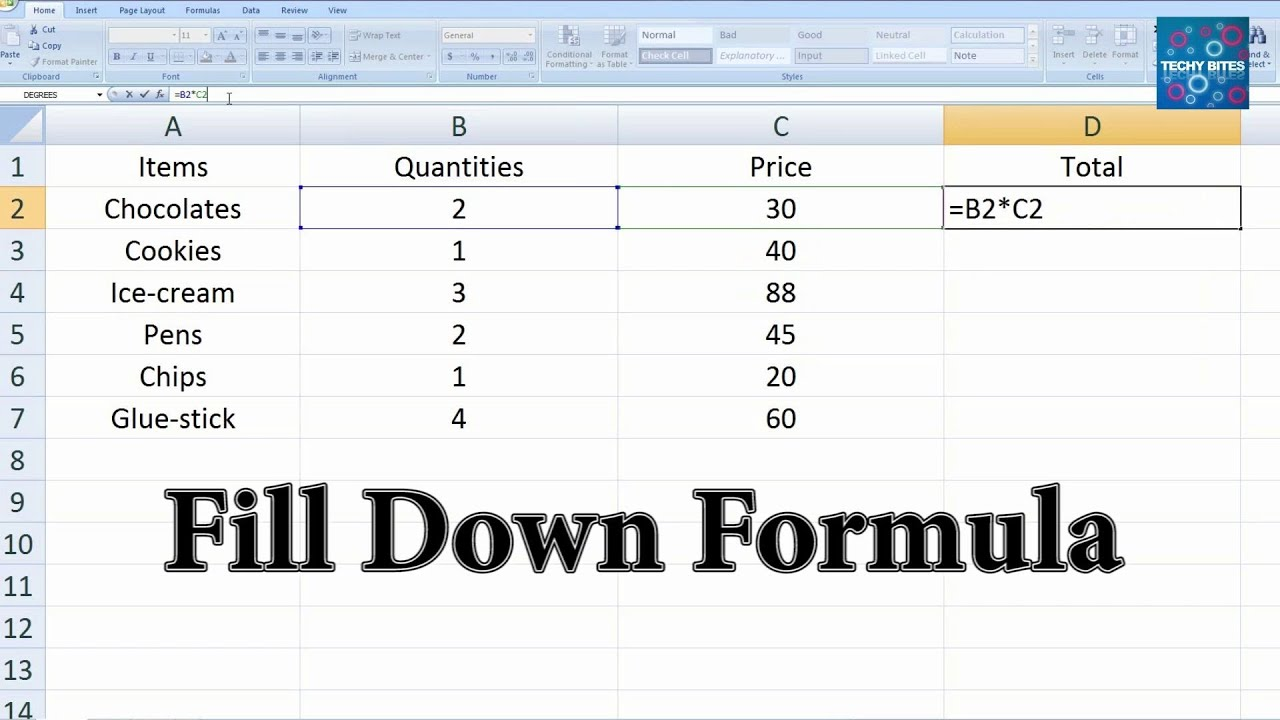 Autofill and fill down formula | Using Excel Fill-down to Sspeed up ...