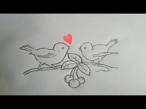 Cute Simple Love Birds Pencil Drawing Pencil Art Youtube