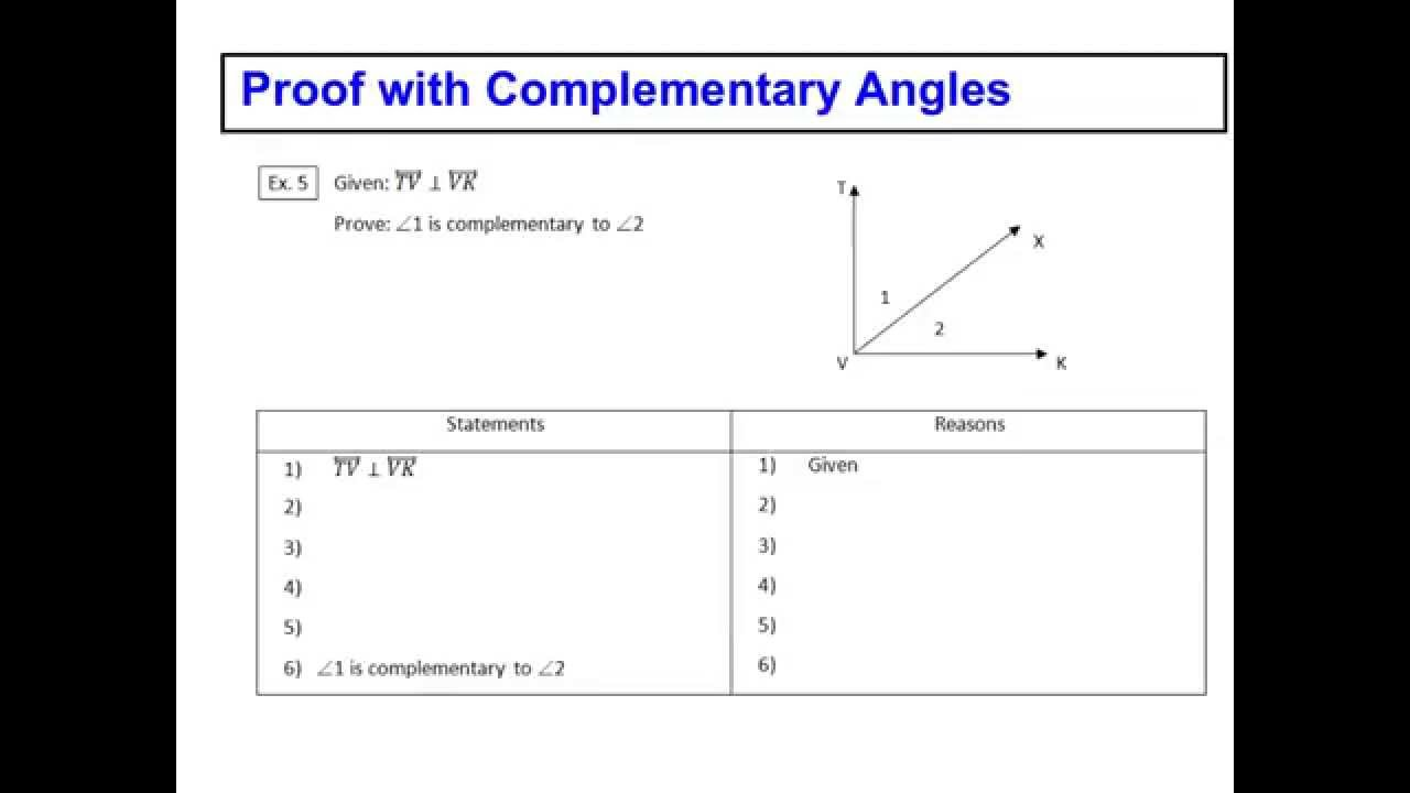 worksheet Complementary Angle proof with complementary angles lesson 2 youtube 2