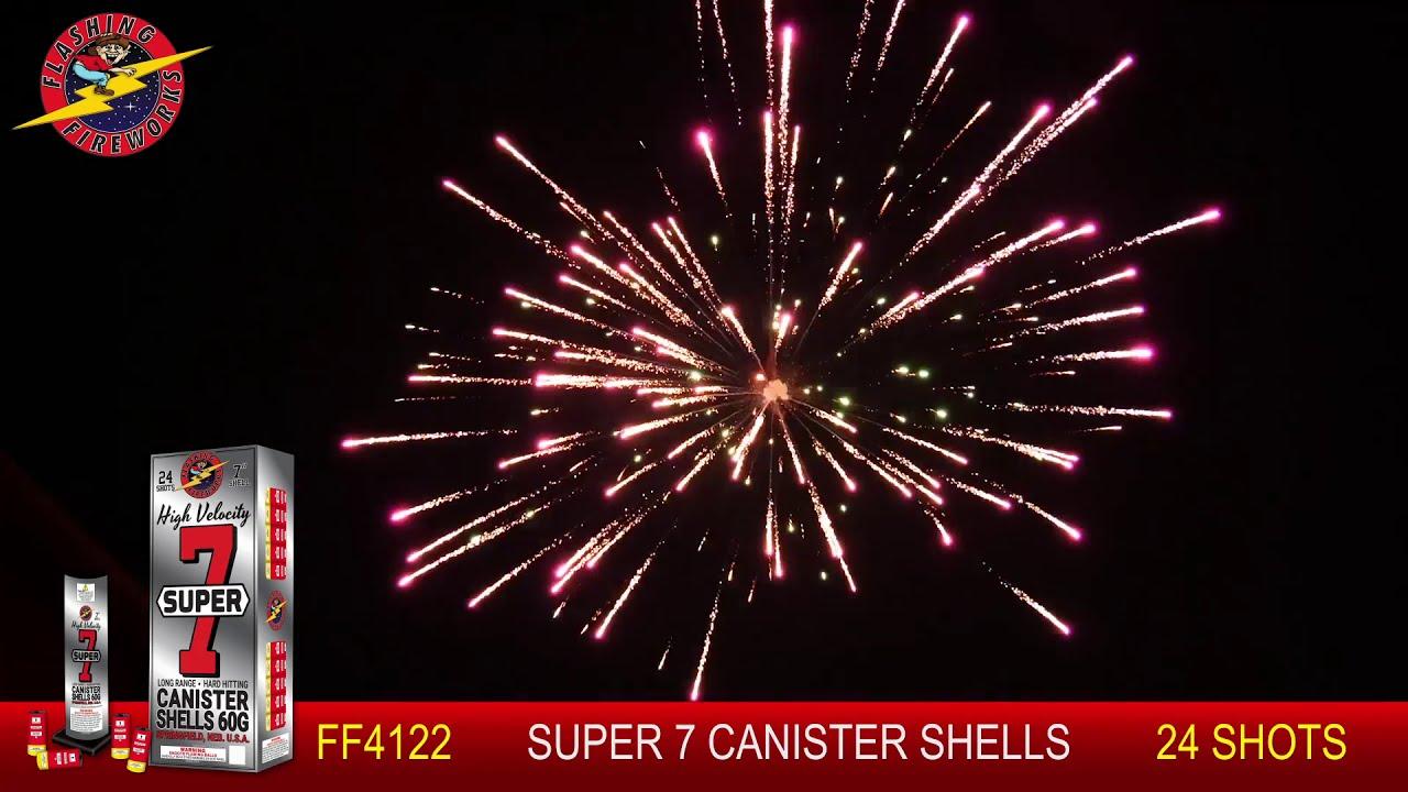 FF4122 Flashing Fireworks Super 7 Canister Shells