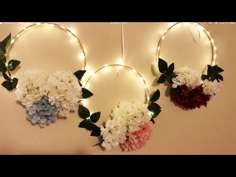 DIY - embroidery hoop wreath | diy- LED floral hoop |diy- decor |Diy- wreath|  DIY- hoop decoration