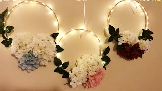DIY - embroidery hoop wreath | diy- LED floral hoop |diy- decor |Diy- wreath|  DIY- hoop decoration