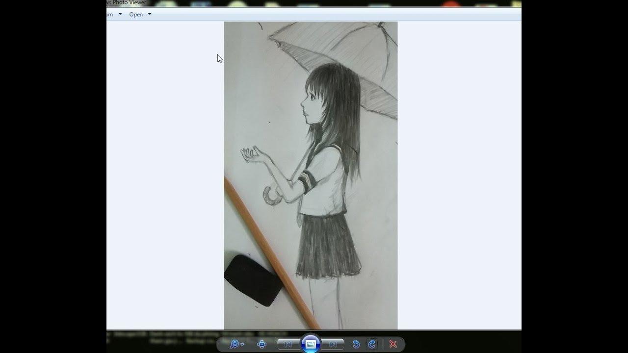 Vẽ anime bằng bút chì/ Vẽ cô gái và cơn mưa