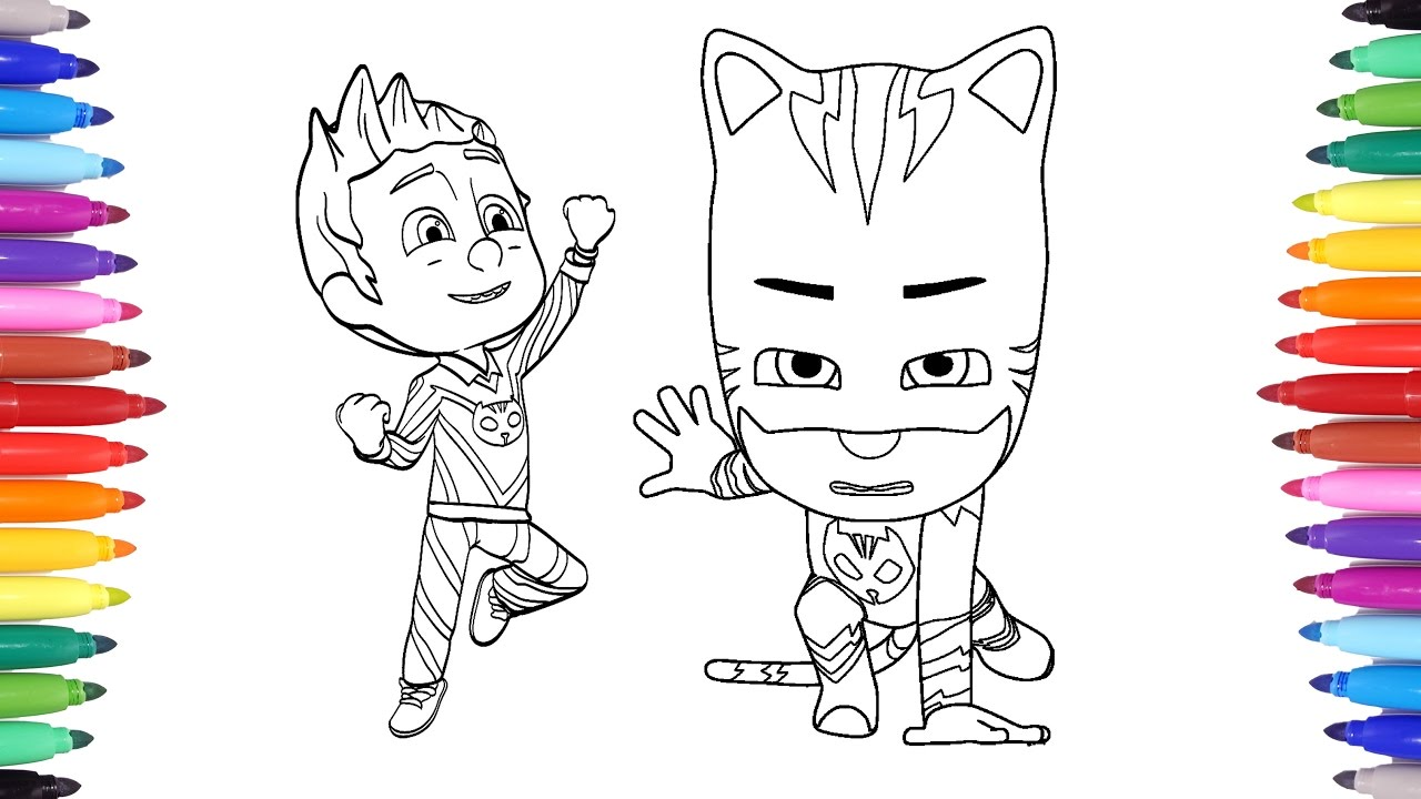 Pj Masks Coloring Pages For Kids Connor Transforms Into Catboy Art Colours For Children Youtube