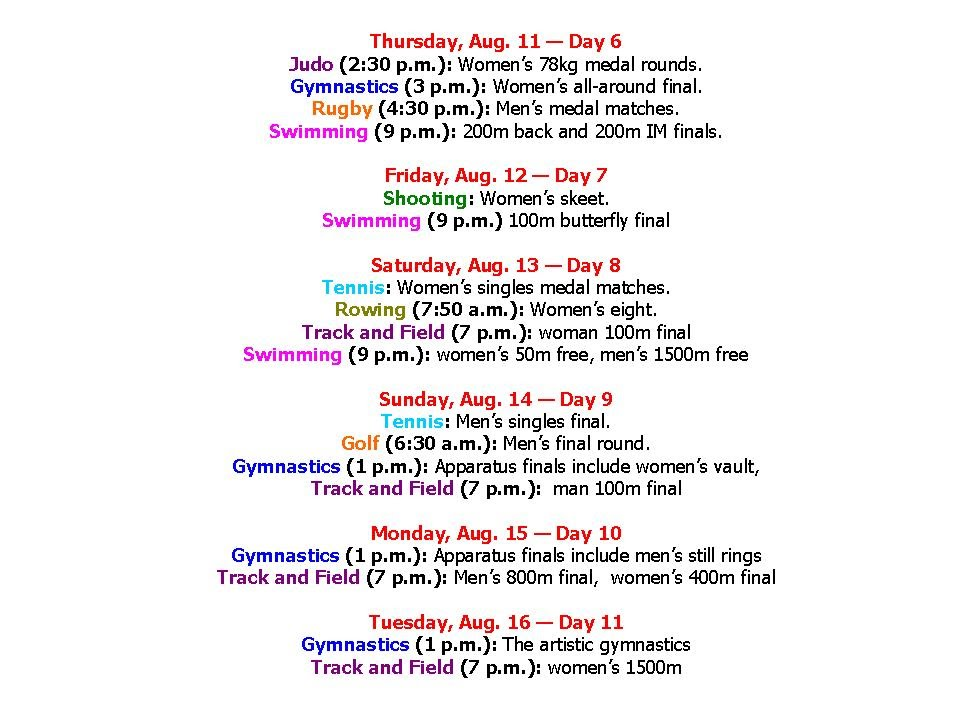 Rio Olympics 2016 Schedule  Time Table (Best Fixture) - YouTube
