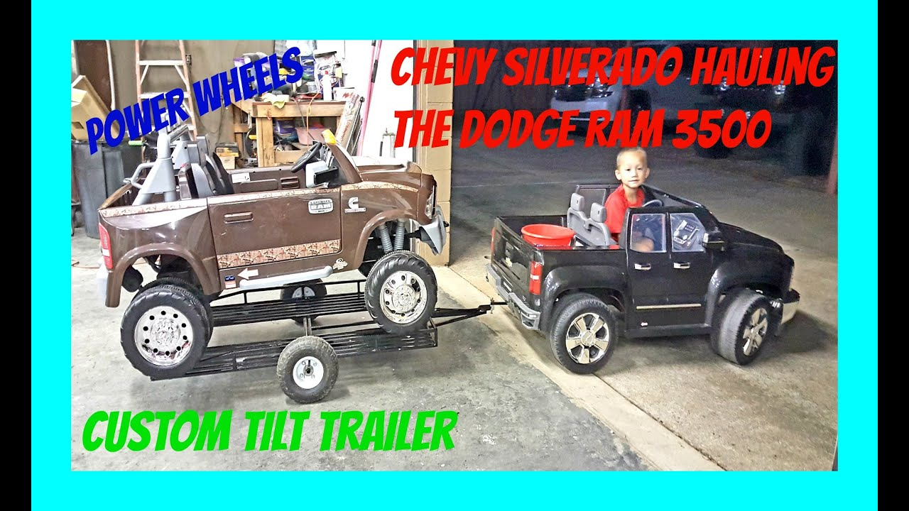 Chevy Longhorn Edition >> Ride On Power Wheels! Chevy Silverado 12 Volt Hauling The Dodge Ram 3500 Dually Longhorn Edition ...