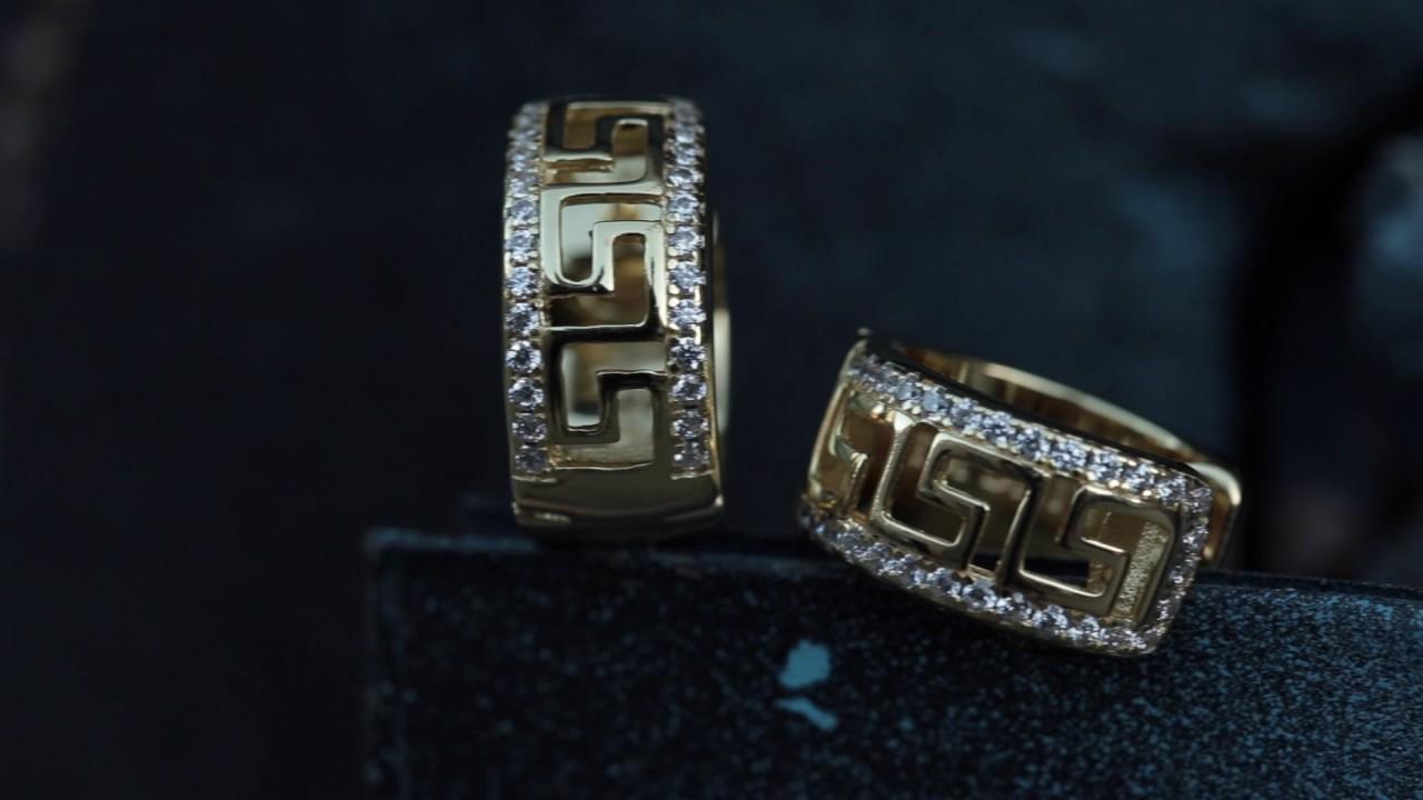 14k Gold Silver Cz Greek Key Hoop Earrings Men S King Ice