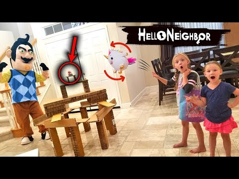 Hello Neighbor in Real Life Shopkins Toy Scavenger Hunt!!