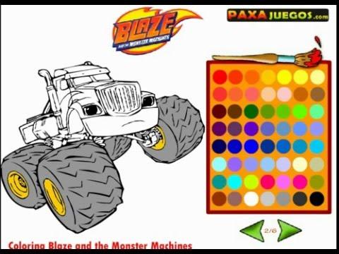 Игра Вспыш и чудо машинки Раскраска. Blaze and the Monster Machines Cartoon For Children