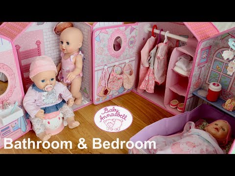 Baby Annabell Bathroom & Bedroom Set Up  And Pretend Play Baby Dolls Shower Time & Bedtime
