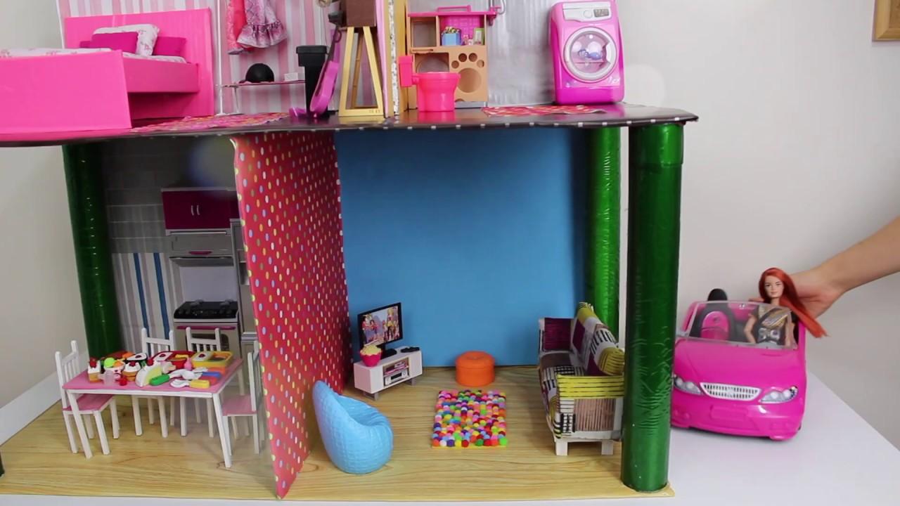 Barbie Rüya Evi Kartondan 2 katlı 4 Odalı Muhteşem Güzel Barbie Evi Yapımı Bidünya Oyuncak