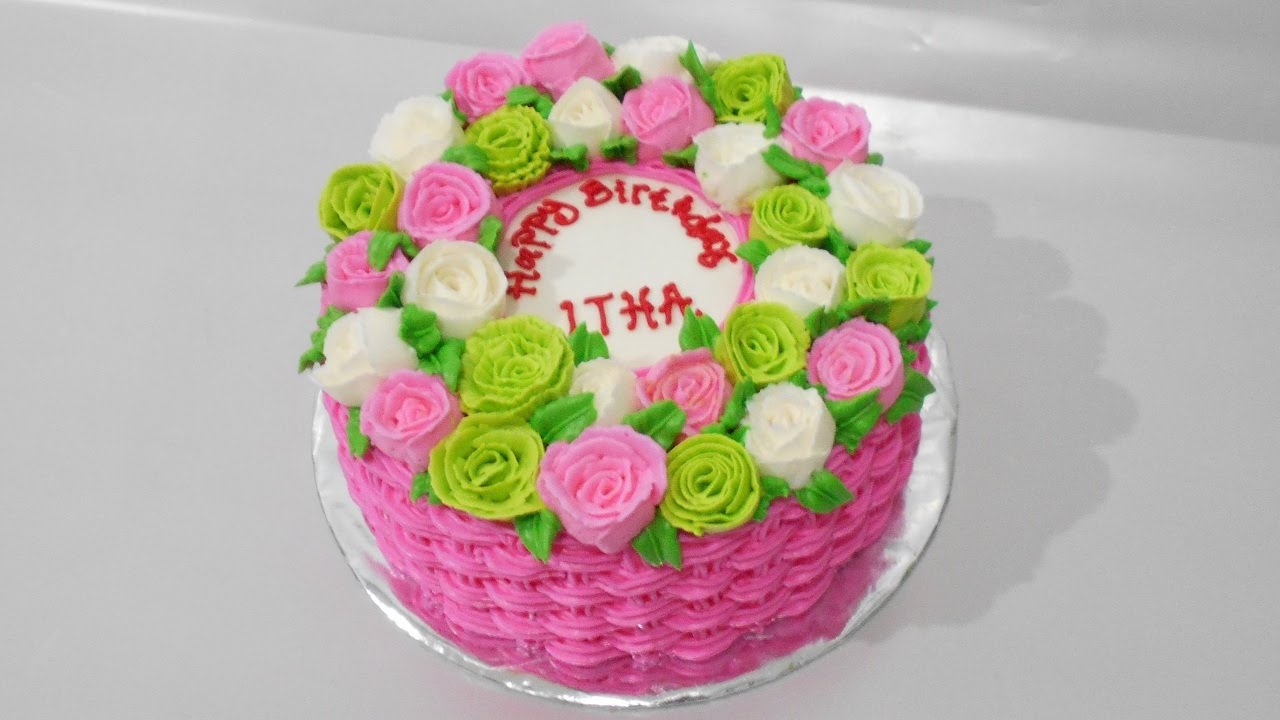 How To Make A Basket Of Flowers Cake : Flower basket cake decoration