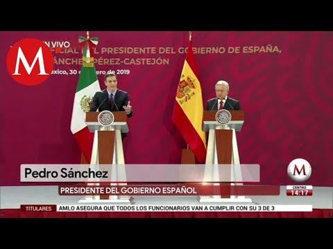 AMLO y Pedro Sánchez ofrecen mensaje a medios