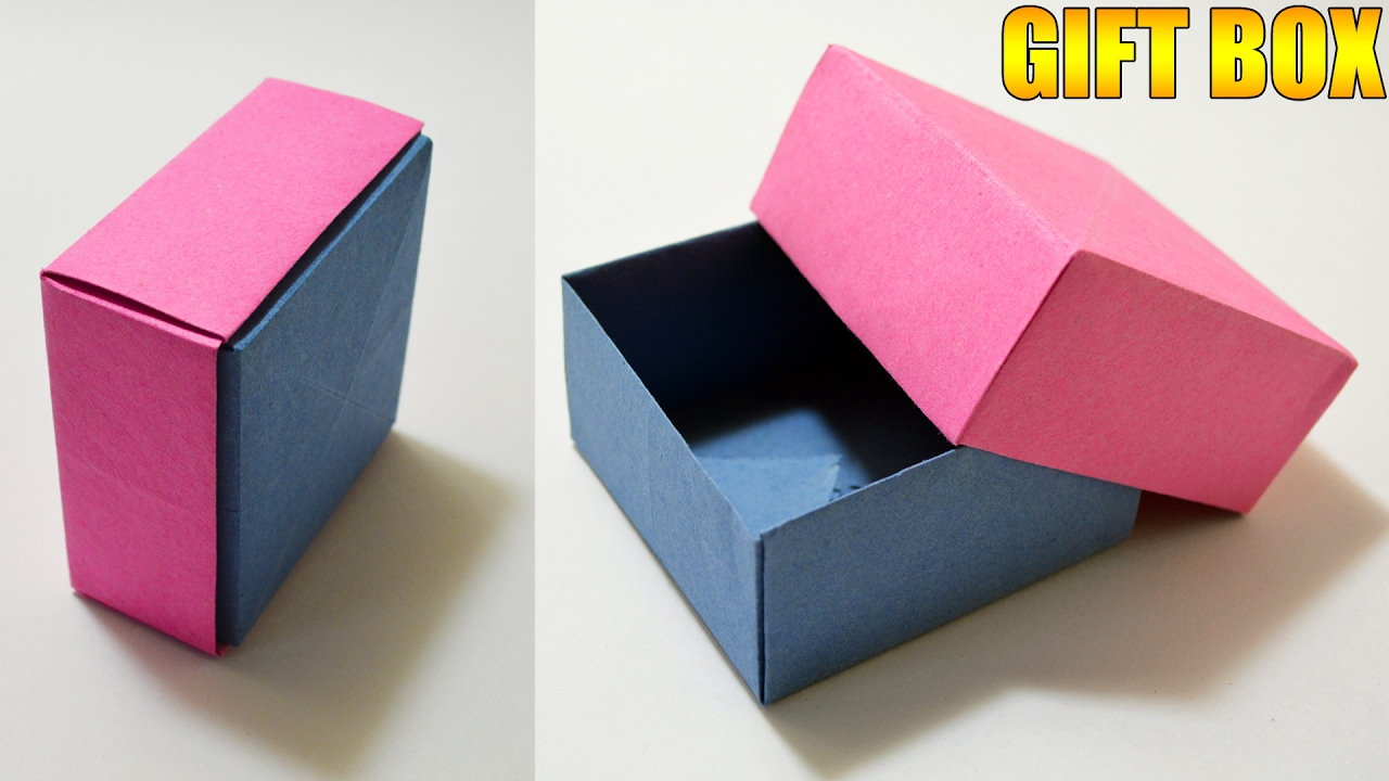 origami gift box with cover easy youtube
