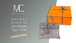 MIGHTYCHIC • Hermes Birkin 35 Gris Asphalte Togo GHW Unboxing e494d59a97d81
