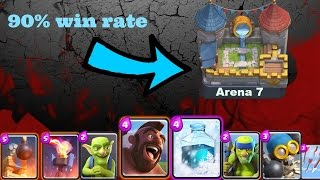 clash royale how to get to royal arena arena 7 fast   best hog rider deck