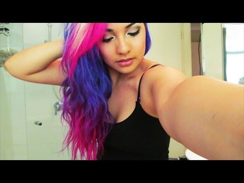 how i did my purple pink turquoise and white hair ombre tips youtube