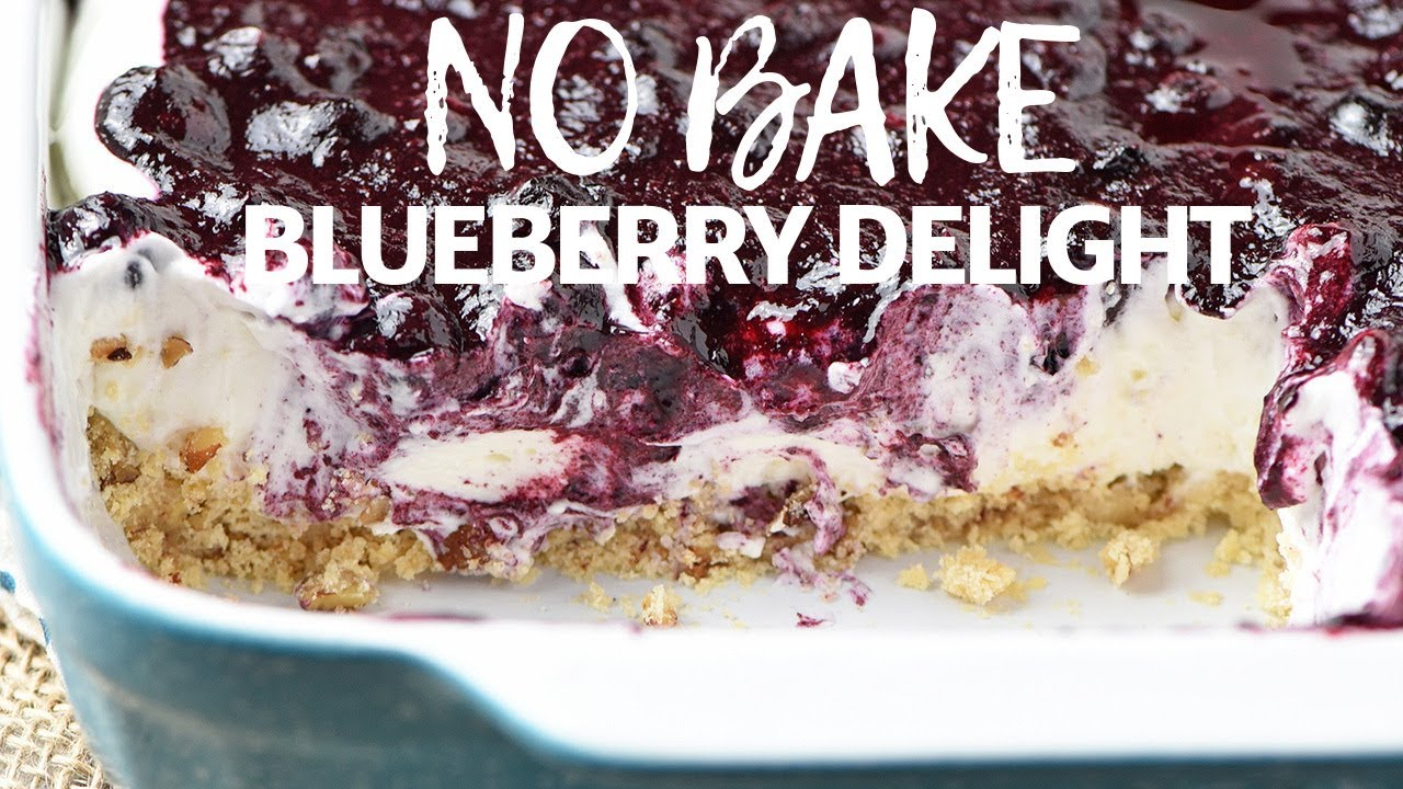 Creamy No Bake Blueberry Delight Flour On My Fingers