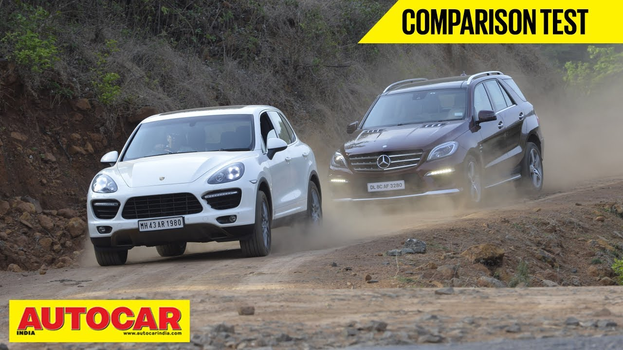 Mercedes benz ml 63 amg vs porsche cayenne turbo comparison test autocar india youtube