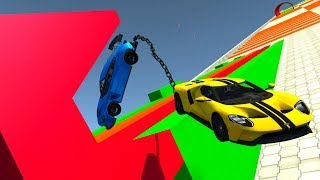 Chained Cars Against Insane Descent - BeamNG Drive Crash Testing