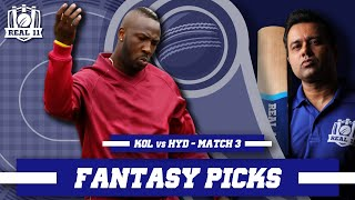 MUSCLE-RUSSELL show once AGAIN? | Real11 Fantasy Picks | KOL vs HYD - IND T20 League - M3