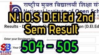 NIOS D.EL.ED 2nd Sem Result | 504,505 Result