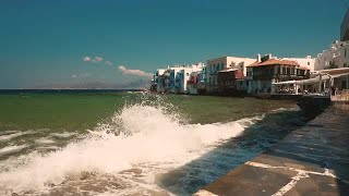 Little Venice Quarter In Mykonos Stock Video