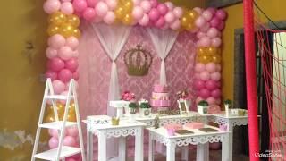 Montando Festa - Tema Realeza Rosa - Pouco espaço