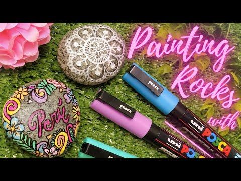 Painting Mandala Rocks with Posca Markers - DIY Craft Tutorial