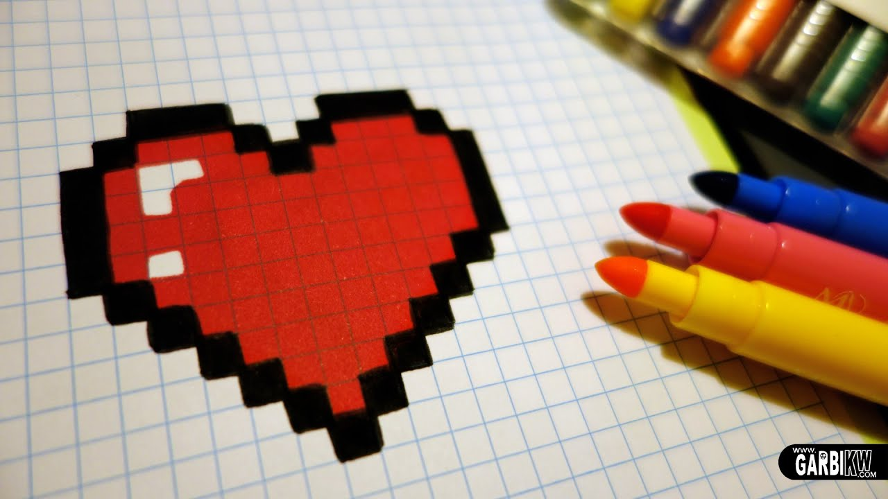 Connu Handmade Pixel Art - How To Draw a Kawaii Heart #pixelart - YouTube ZX04