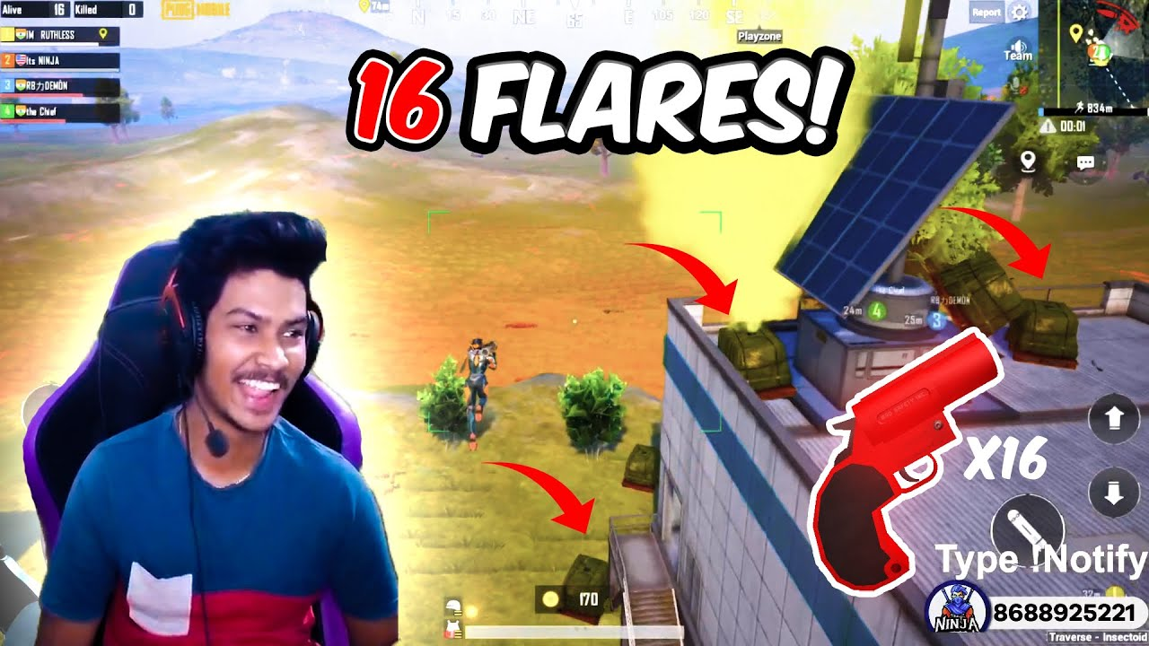 16 Flares in 1 Match 😨😱 | Pubg Mobile Highlights Its Ninja | Live Streams in Facebook