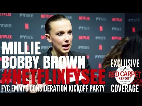 "Millie Bobby Brown interviewed at the ""Stranger Things"" Netflix FYSee Event #NetflixFYSee"