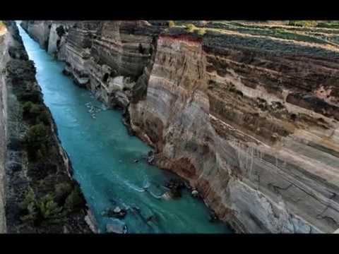 Corinth Canal landslides from its steep walls, tourist traffic blocked in Greece